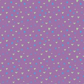 Hearts and Stars Symbol Purple