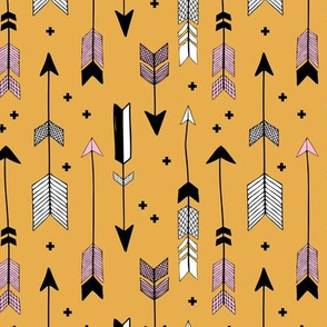 Indian summer and winter love Scandinavian style illustration arrows and geometric crosses gender neutral black and white girls autumn pink golden honey