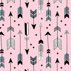 Indian summer and winter love Scandinavian style illustration arrows and geometric crosses gender neutral black and white girls autumn pink blue