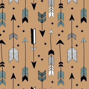 Indian summer and winter love Scandinavian style illustration arrows and geometric crosses gender neutral black and white autumn honey blue