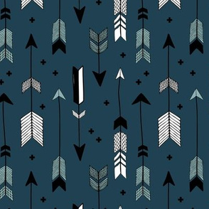 Indian summer and winter love Scandinavian style illustration arrows and geometric crosses gender neutral black and white cool blue  night navy