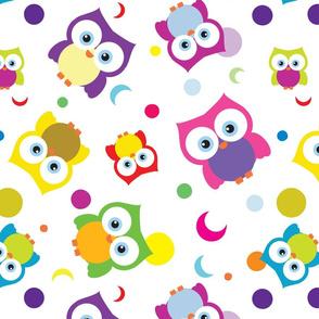 Smiling Big Eyed Colorful Owls