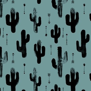 Watercolors ink cactus garden gender neutral geometric arrows cowboy theme autumn cool ice blue ocean