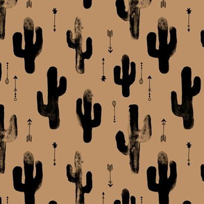 Watercolors ink cactus garden gender neutral geometric arrows cowboy theme autumn caramel beige brown