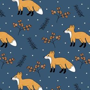 Little Fox forest love autumn and winter wonderland Christmas design gender neutral navy blue honey