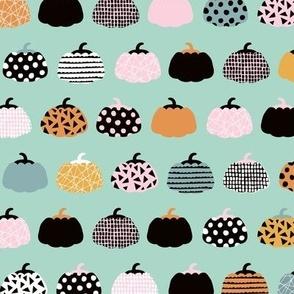 Sweet fall inky texture pumpkin picking autumn garden halloween gourds print mint orange pink girls