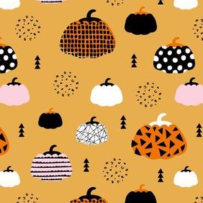 Sweet fall inky texture pumpkin mix picking autumn garden halloween gourds print honey orange pink girls