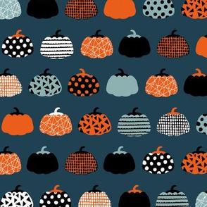 Sweet fall inky texture pumpkin picking autumn garden halloween gourds print blue navy orange