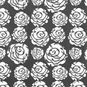 Gray White Rosettes Chalkboard Floral