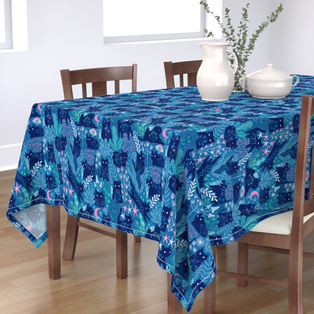 Bantam Rectangular Tablecloth featuring Meowgical friends - Anya & Misha cat. by kostolom3000
