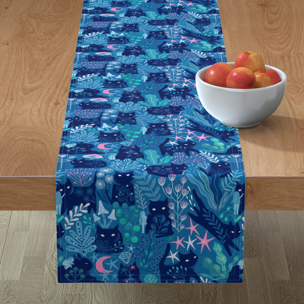 Minorca Table Runner featuring Meowgical friends - Anya & Misha cat. by kostolom3000