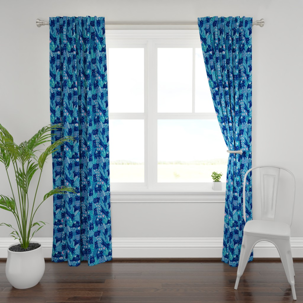 Plymouth Curtain Panel featuring Meowgical friends - Anya & Misha cat fabric pattern. by kostolom3000