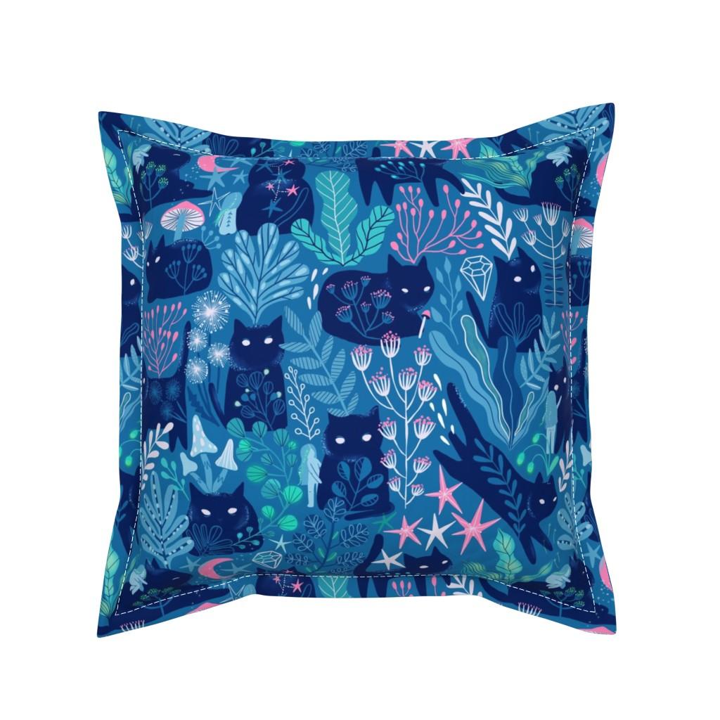 Serama Throw Pillow featuring Meowgical friends - Anya & Misha cat fabric pattern. by kostolom3000