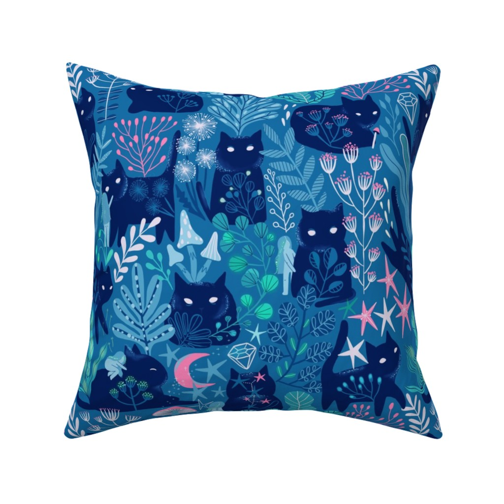 Catalan Throw Pillow featuring Meowgical friends - Anya & Misha cat fabric pattern. by kostolom3000