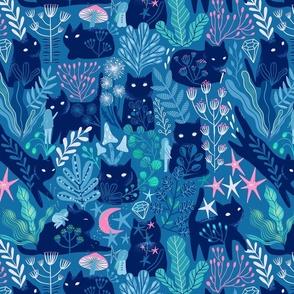 3 inch cat. Meowgical friends - Anya & Misha cat fabric pattern.