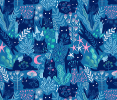 Meowgical friends - Anya & Misha cat fabric pattern.