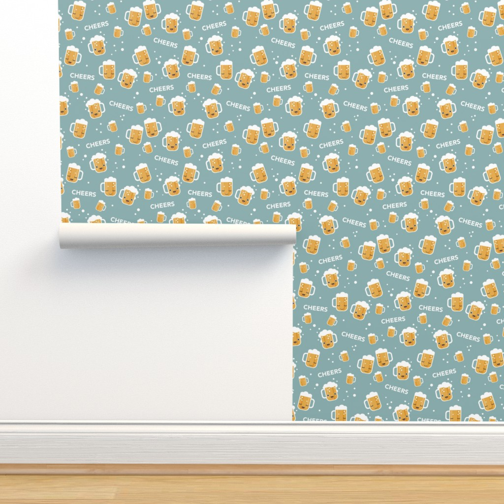 Isobar Durable Wallpaper featuring Cheers for beers party drinks traditional german Oktoberfest beer holiday illustration kawaii design blue gray  by littlesmilemakers