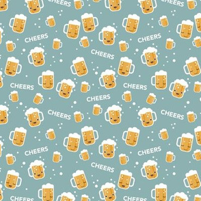 Cheers for beers party drinks traditional german Oktoberfest beer holiday illustration kawaii design blue gray