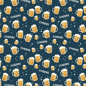 Cheers for beers party drinks traditional german Oktoberfest beer holiday illustration kawaii design mint