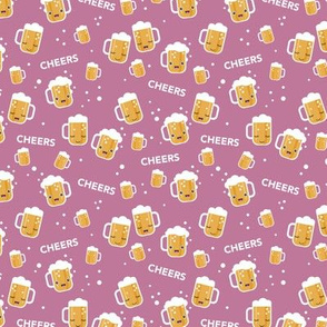 Cheers for beers party drinks traditional german Oktoberfest beer holiday illustration kawaii design pink