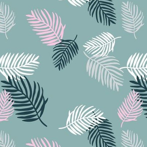 Sweet pastel palm leaf surf island summer vibes boho garden gray blue pink