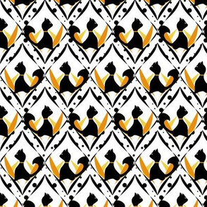 Halloween Black Cats on Orange Diamond and Dot Pattern