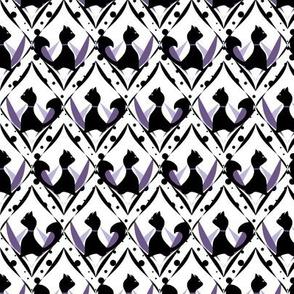Halloween Black Cats on Purple Diamond Lattice