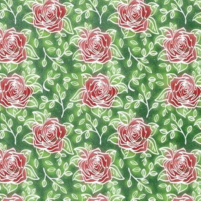 Glowing Roses on Green