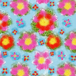 Bright Blue Red Watercolor Floral Pattern