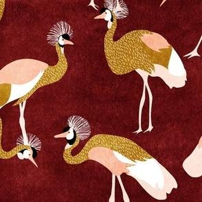 crowned cranes - rust & mustard