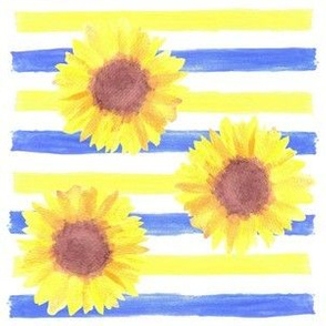 sunflowers and stripes in watercolor