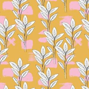 Raw garden leaves lush jungle ochre yellow honey pink girls