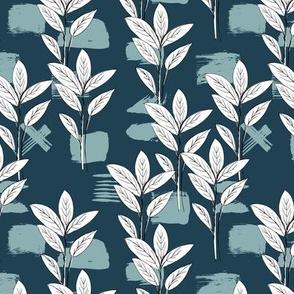 Raw garden leaves lush jungle blue gray white fall winter boys