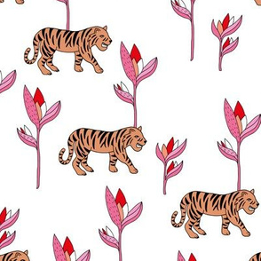 Tiger jungle and birds of paradise safari summer pink red girls