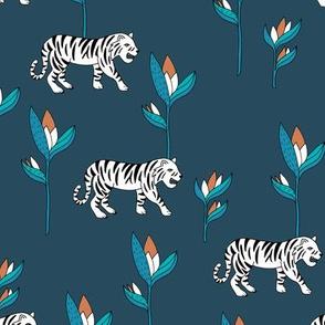 Tiger jungle and birds of paradise safari summer night navy blue boys winter