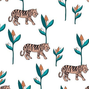 Tiger jungle and birds of paradise safari summer beige blue boys winter