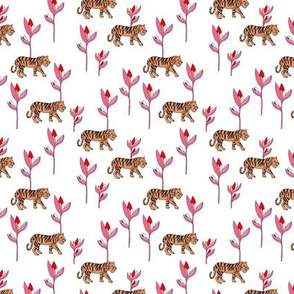 Tiger jungle and birds of paradise safari summer pink red girls SMALL