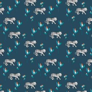 Tiger jungle and birds of paradise safari summer night navy blue boys winter SMALL
