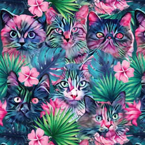 Large scale • Summer floral cats