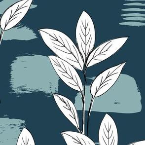 Raw garden leaves lush jungle blue gray white fall winter boys JUMBO