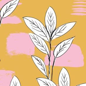 Raw garden leaves lush jungle ochre yellow honey pink girls JUMBO