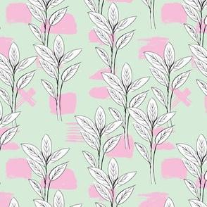 Raw garden leaves lush jungle ochre mint green pink girls