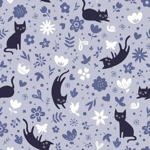Cats frolicking in the garden - lavender - small scale