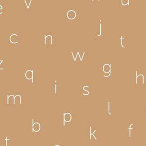 Minimal abc back to school theme alphabet text type design muddy beige sand