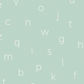 Minimal abc back to school theme alphabet text type design green mint