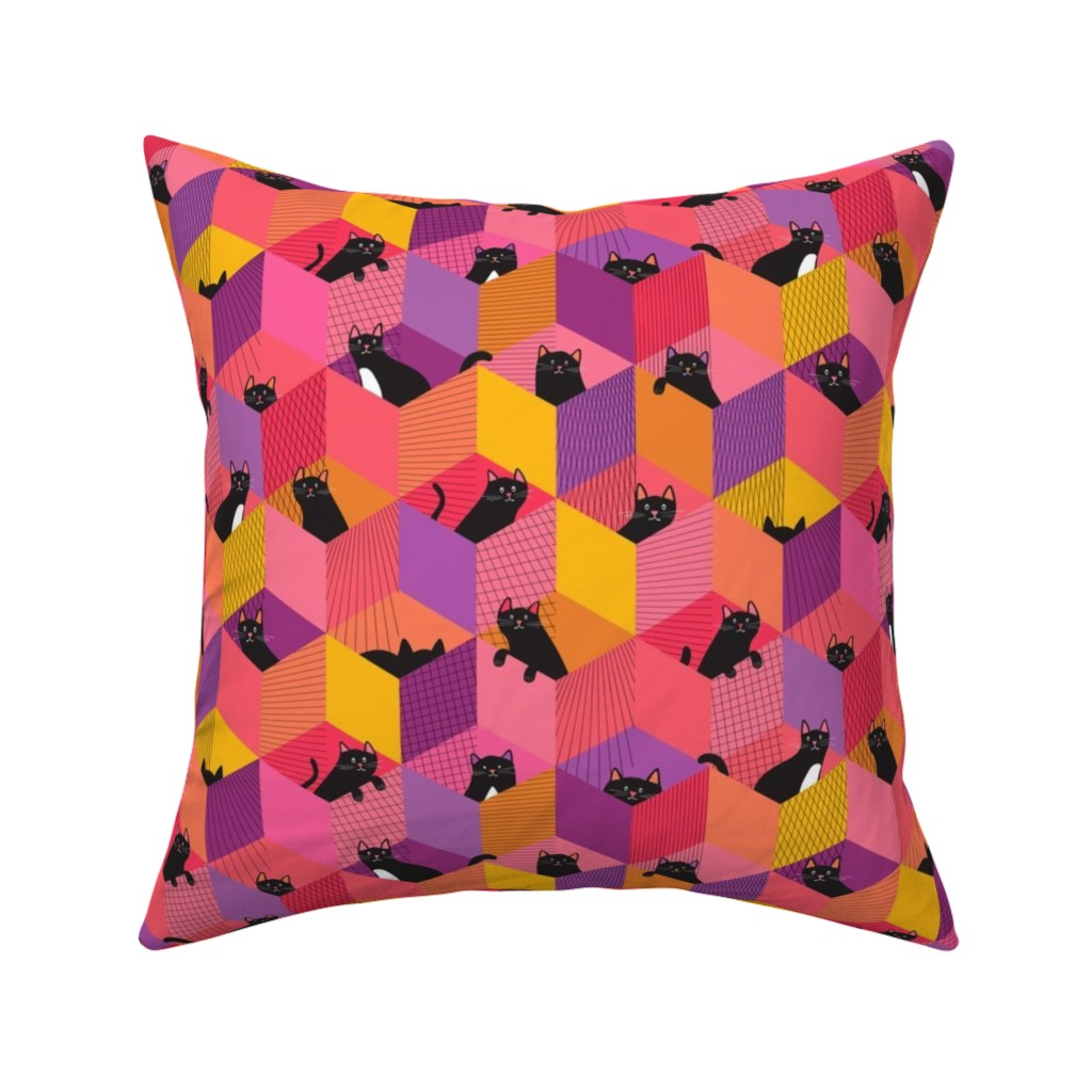 Catalan Throw Pillow featuring Cats Love Boxes by wildnotions