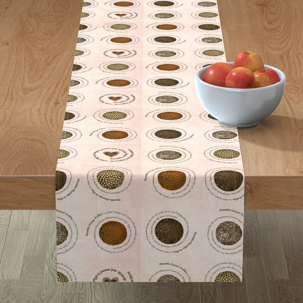 Minorca Table Runner featuring Truffles recipes on fabric by lucybaribeau