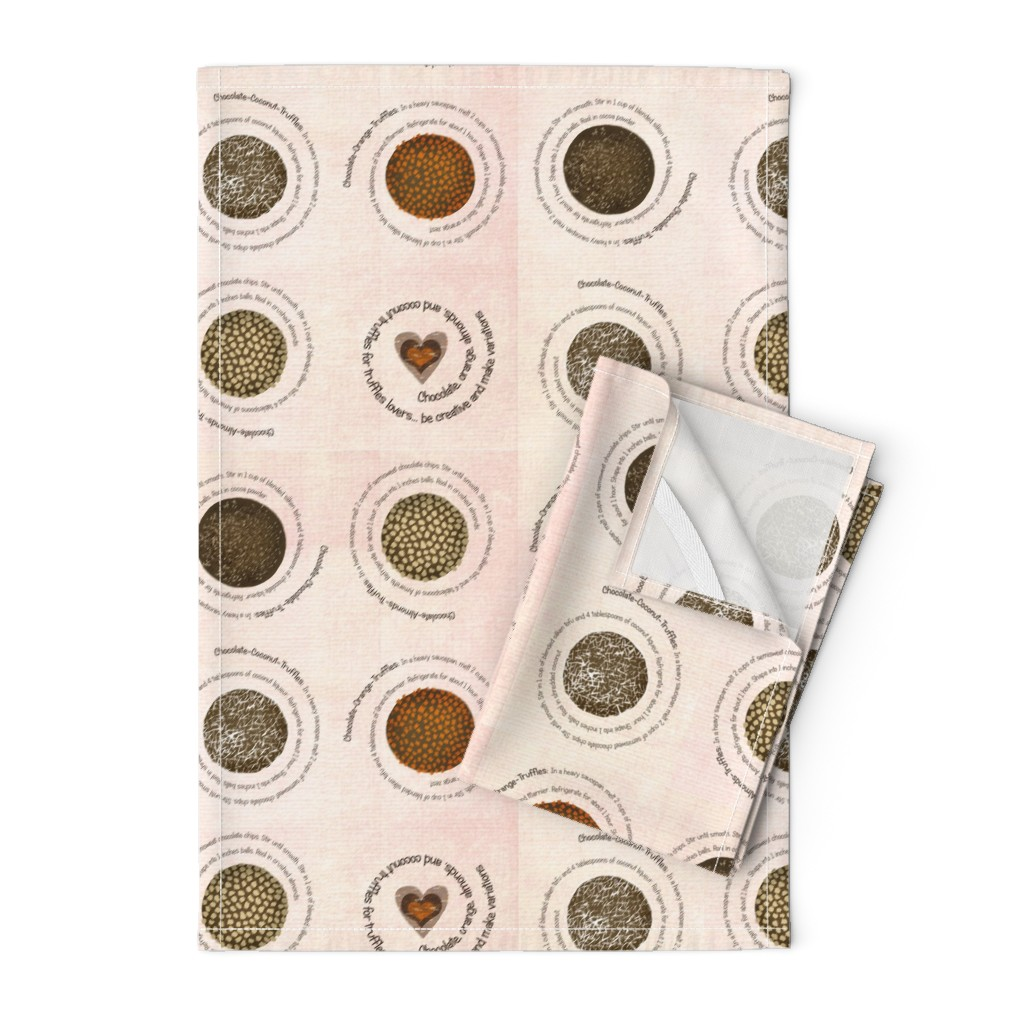 Orpington Tea Towels featuring Truffles recipes on fabric by lucybaribeau