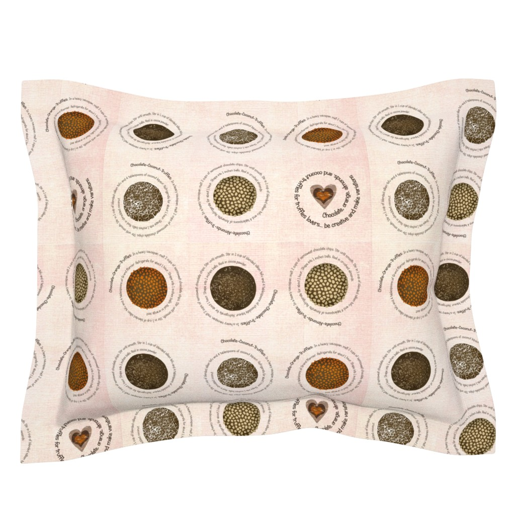 Sebright Pillow Sham featuring Truffles recipes on fabric by lucybaribeau