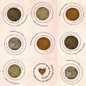 Truffles recipes on fabric